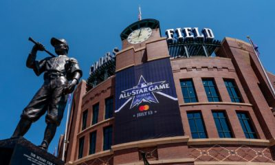 The 2021 MLB All-Star Game logo is displayed at Coors Field. Photo: Kyle Cooper/Colorado Rockies/Getty Images